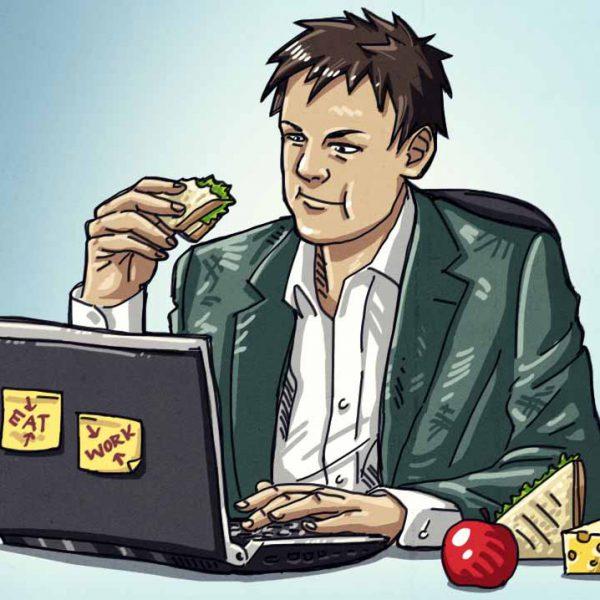عکس غذا خوردن هنگام کار
